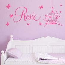 Personalised Children's Bird Cage Name Wall Sticker Decal